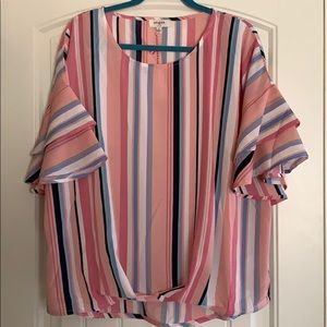 Pink Top with 3/4 Bell Sleeves